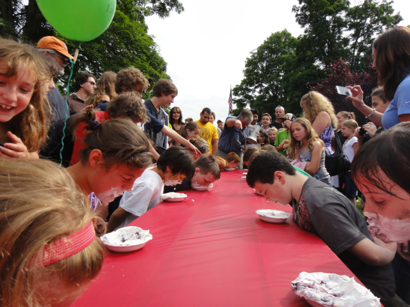 Pie eating contest at Community Day